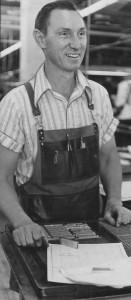 Ed in printer's apron